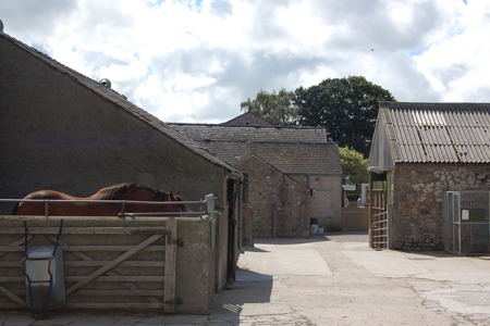 Traditional farm buildings at Greenlands children's farm in Lancashire