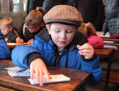 School at the Beamish Museum - writing with an inkwell and pen