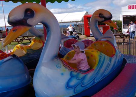 Children swan funfair ride at Haven Craig Tara