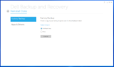 Create Factory Recovery disk using Dell Windows 8 tools