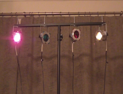LED PAR 16 disco lights controlled by a micro:bit programmed using MicroPython from a Raspberry Pi