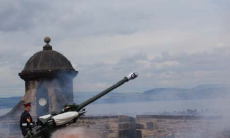 The One Oclock Gun, just after being fired at Edinburgh Castle