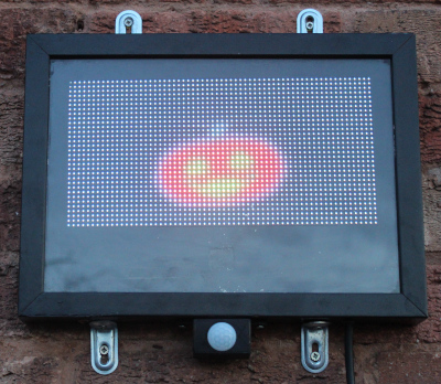 Halloween pumpkin animation powered by a Raspberry Pi and RGB matrix LED display