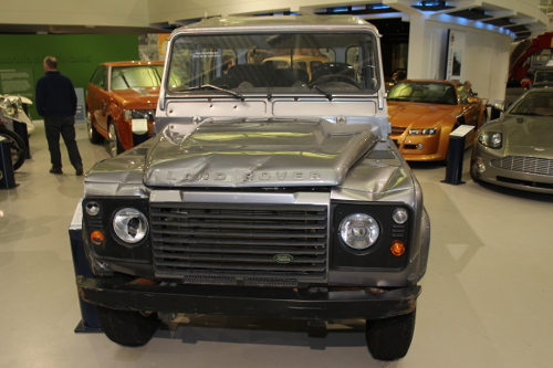 Landrover / Jeep from James Bond Skyfall at heritage motor museum Gaydon
