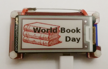 InkyPHat wearable Raspberry Pi badge for World Book Day