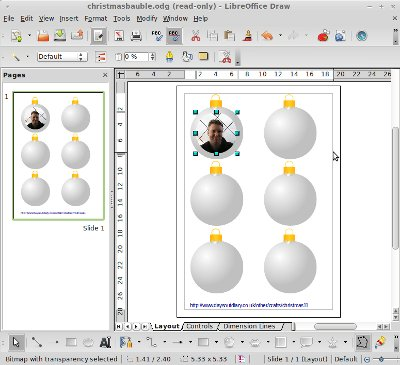 Libre Office screenshot - Christmas bauble image