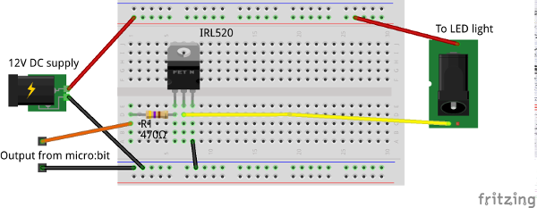 Micro:Bit disco light circuit on a breadboard