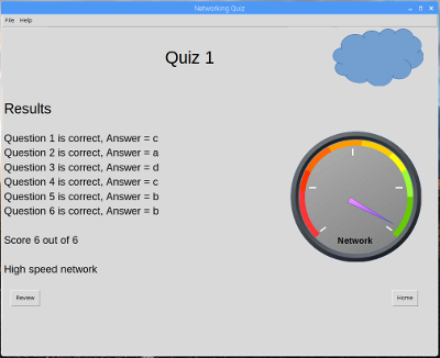 Screenshot of networking quiz running on Raspberry Pi / Arduino