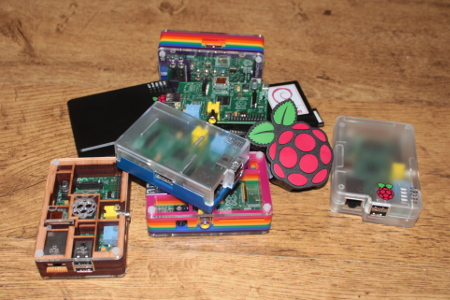 A collection of Raspberry Pi computers and PiHub