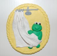 frog bathroom door plaque