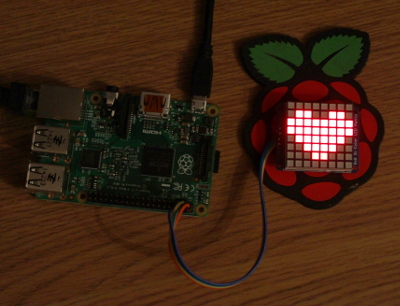 Raspberry Pi - Heart using Adafruit 8x8 LED matrix with LED Backpack
