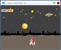 Space Asteroids physical computing game for the Raspberry Pi - Scratch version  2