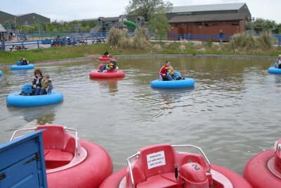 Bumper boats at Twinlakes family theme park in Melton Mowbray