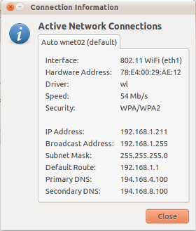 Wireless network connection information - NetworkManager applet in Ubuntu Linux