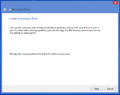 Creating a recovery disk in Microsoft Windows 8