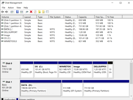 Windows 10 disk management partitioning tool, after installing Linux in a dual boot setup