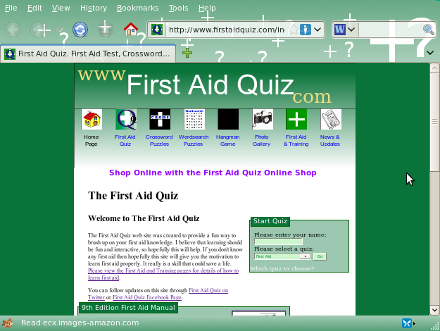 Screenshot First Aid Quiz website