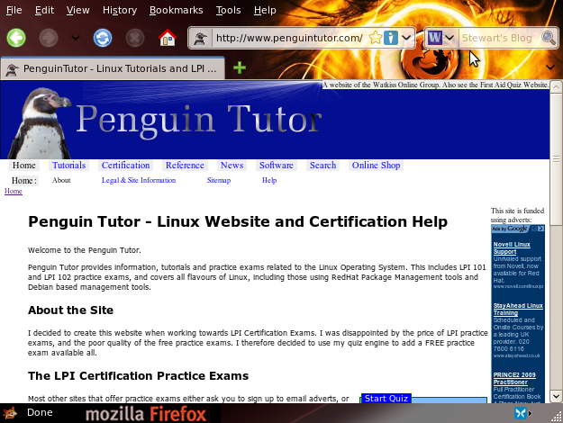 Screenshot PenguinTutor Linux website